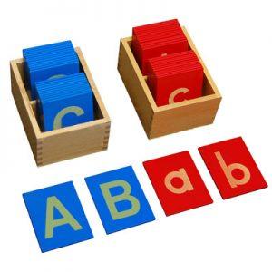 giáo cụ ngôn ngữ Montessori - bộ chữ nhám và chữ thường - http://thientainhi.com/danh-muc-giao-cu-ngon-ngu-montessori/